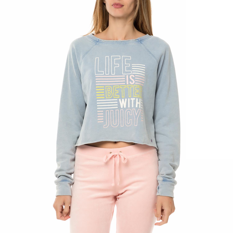 JUICY COUTURE – Γυναικεία φούτερ μπλούζα JUICY COUTURE TRK KNIT LIFE IS  BETTER γαλάζια bcc9acc65ff