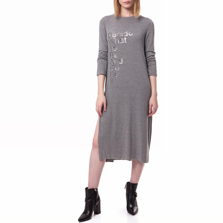 FEEL CUTE - Γυναικείο φόρεμα Feel Cute γκρι γυναικεία ρούχα φορέματα μέχρι το γόνατο