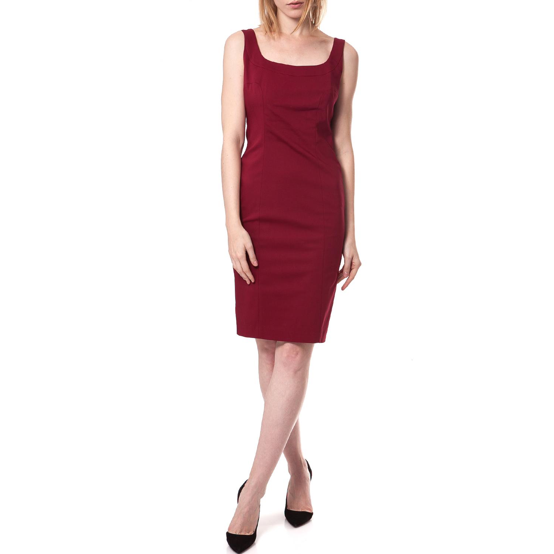 TEA & ROSE - Γυναικείο φόρεμα Tea & Rose μπορντώ γυναικεία ρούχα φορέματα μέχρι το γόνατο