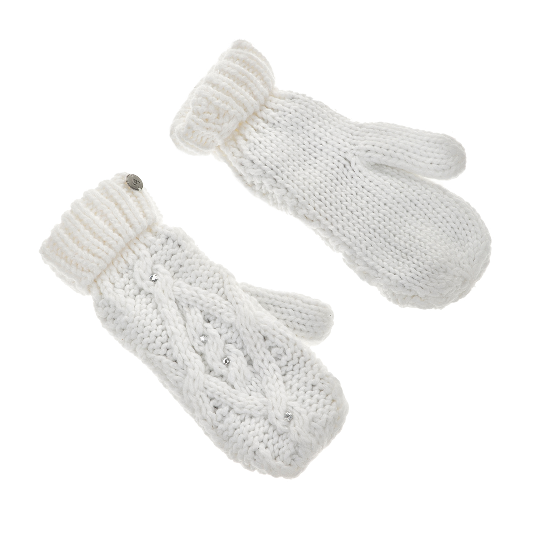 ROXY - Γυναικεία γάντια ενιαία ROXY SHOOTING STAR MITTENS λευκά με στρας γυναικεία αξεσουάρ φουλάρια κασκόλ γάντια