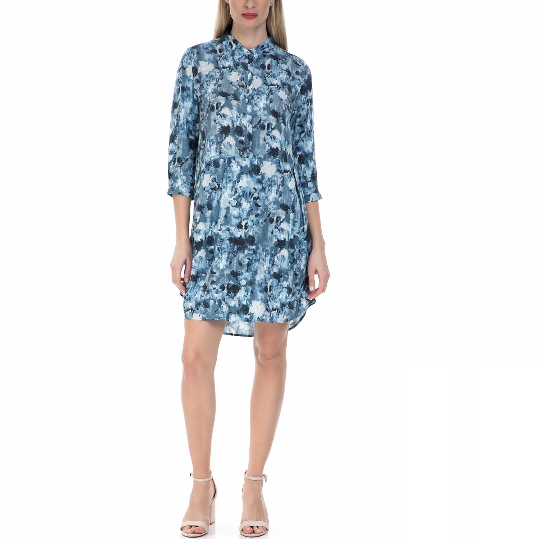 CALVIN KLEIN JEANS - Γυναικείο μίνι φόρεμα Calvin Klein Jeans μπλε με print γυναικεία ρούχα φορέματα μίνι
