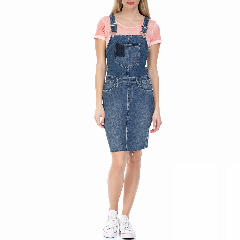 CALVIN KLEIN JEANS - Γυναικείο τζιν φόρεμα σαλοπέτα Calvin Klein Jeans μπλε γυναικεία ρούχα φορέματα μίνι