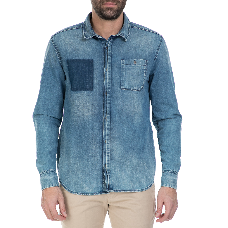 7e2a5e190944 CALVIN KLEIN JEANS - Ανδρικό μακρυμάνικο τζιν πουκάμισο Calvin Klein Jeans  μπλε