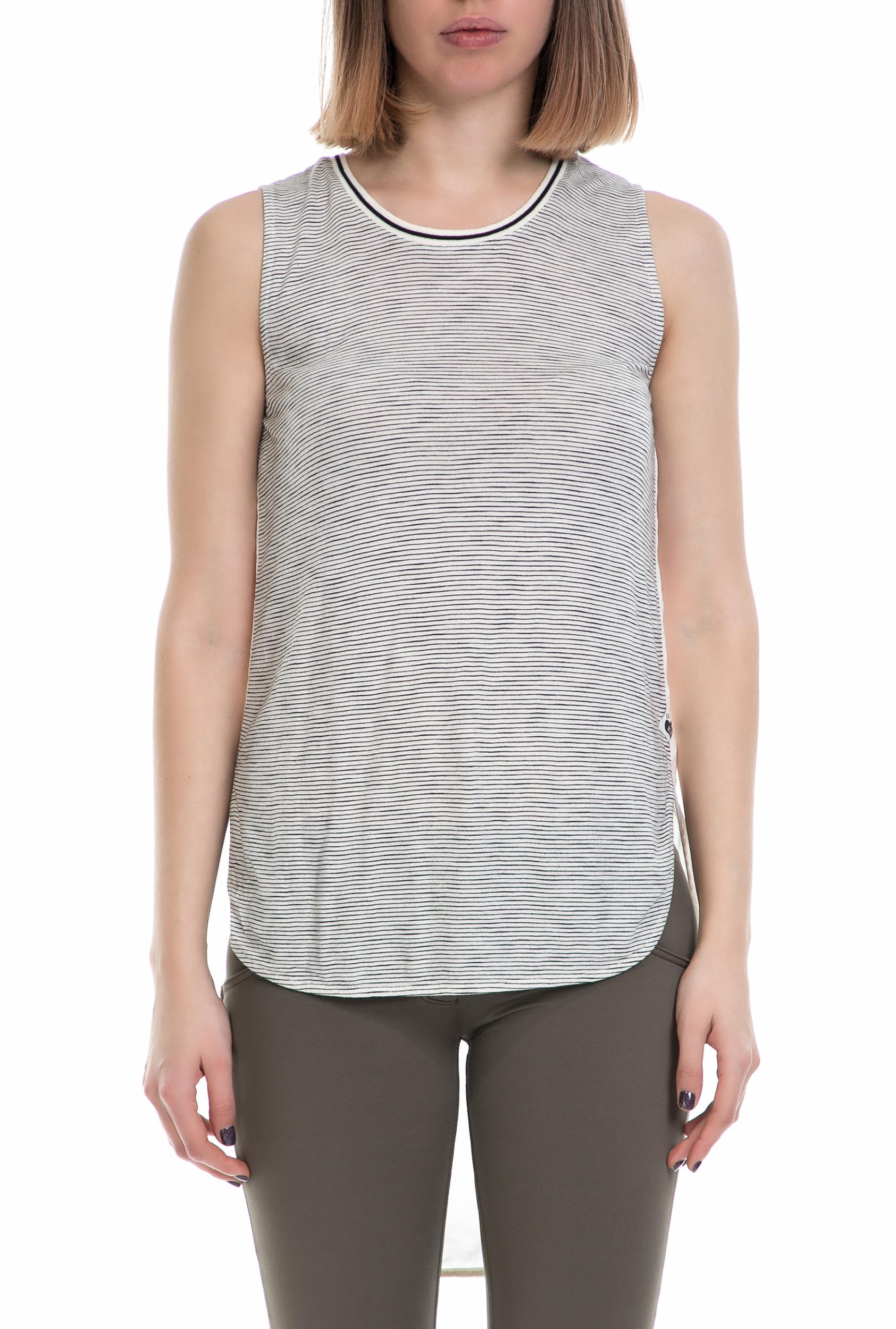 SCOTCH & SODA - Γυναικείο τοπ SCOTCH & SODA μαύρο-λευκό γυναικεία ρούχα μπλούζες αμάνικες