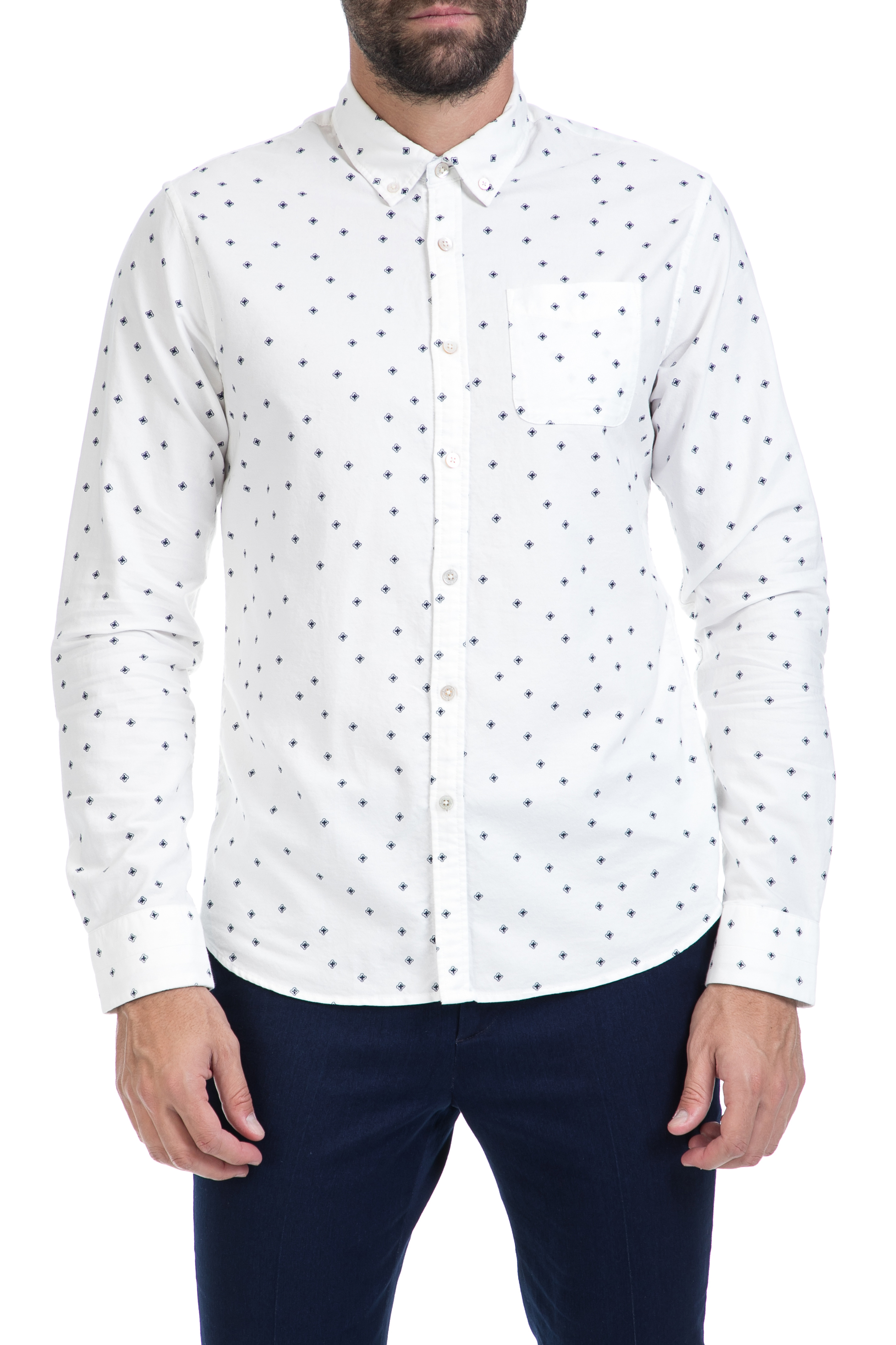 77b07bbdfae SCOTCH & SODA – Ανδρικό πουκάμισο Ams Blauw slim fit allover pri λευκό  1547136.0-0004