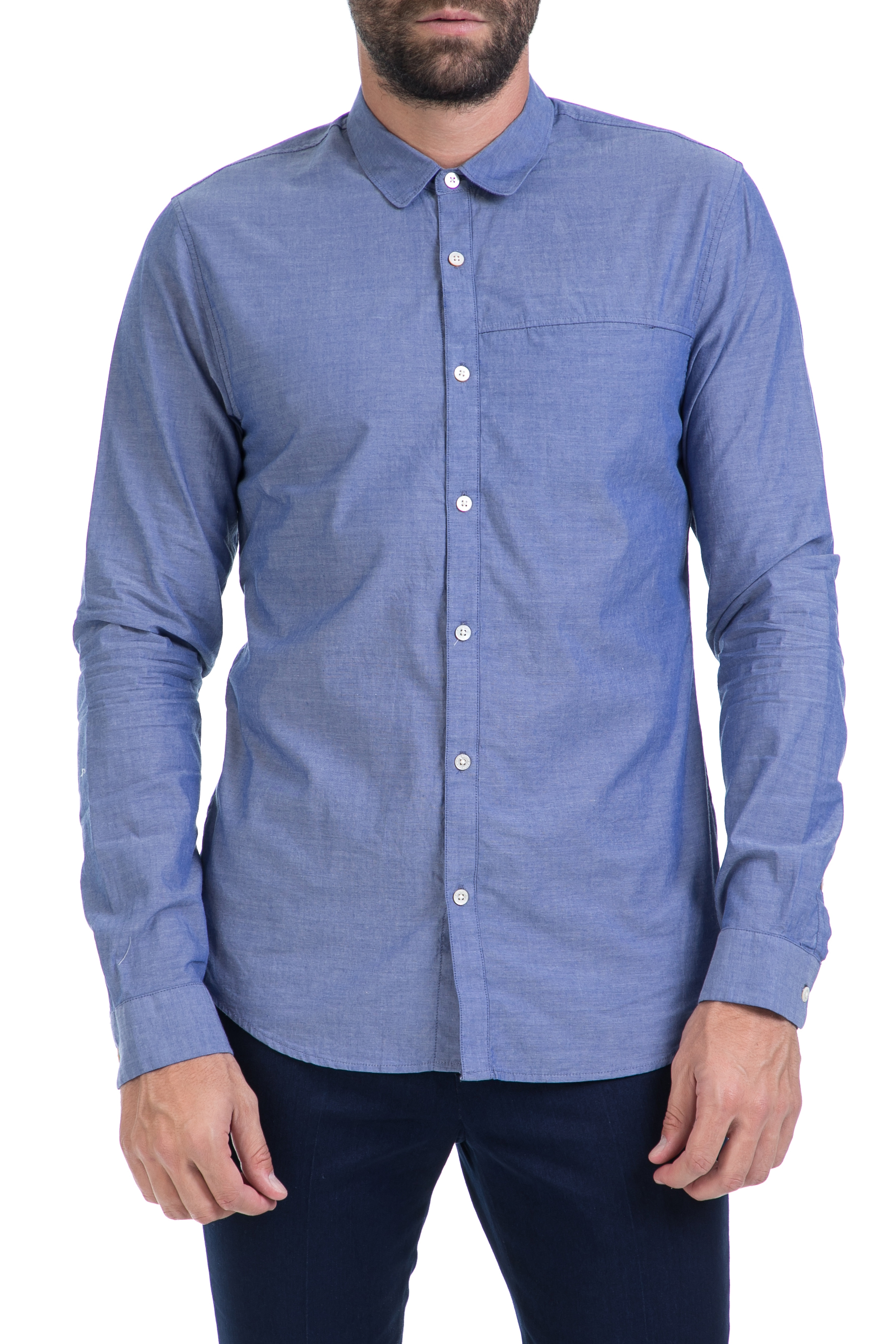 SCOTCH & SODA - Ανδρικό πουκάμισο Clean and crispy hotel shirt μπλε ανδρικά ρούχα πουκάμισα μακρυμάνικα