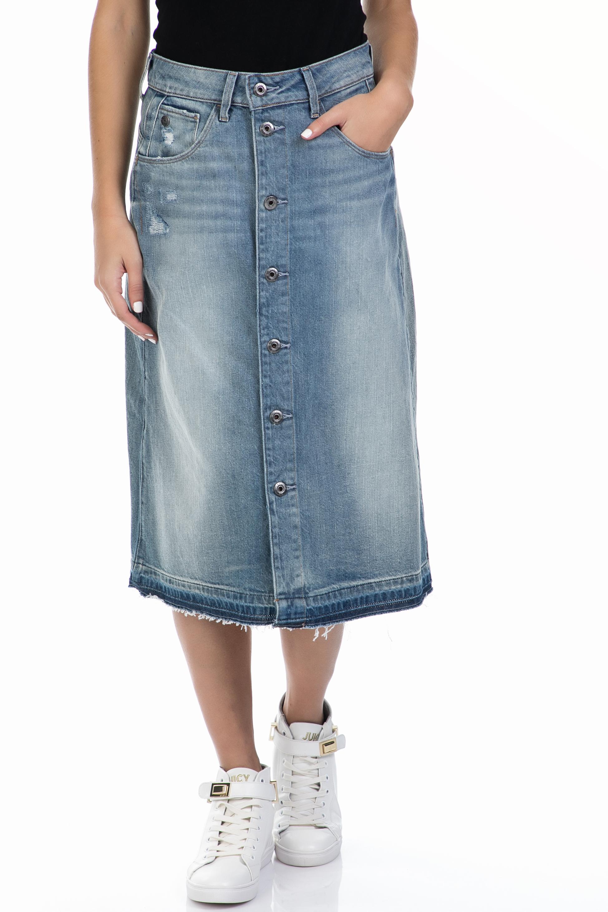 G-STAR - Γυναικεία φούστα G-STAR RAW μπλε γυναικεία ρούχα φούστες μέχρι το γόνατο