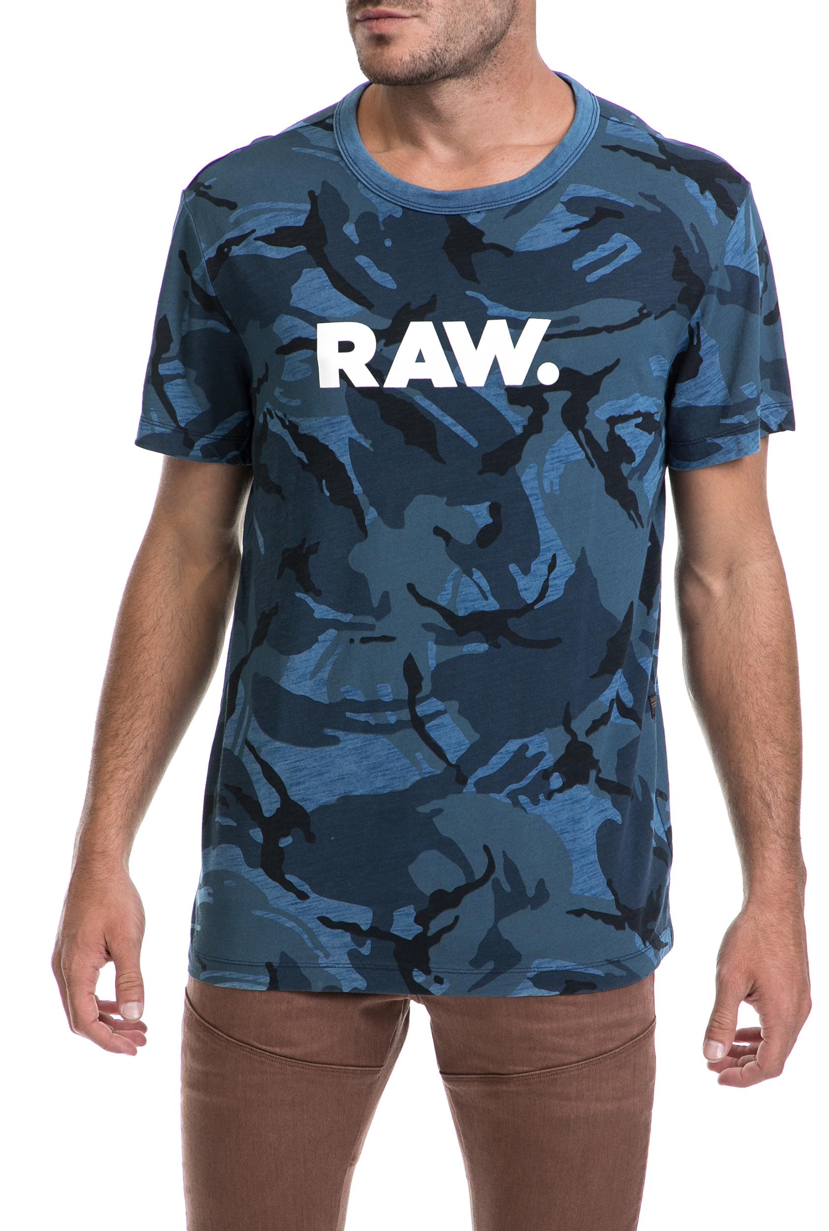 G-STAR - Ανδρικό t-shirt G-STAR RAW μπλε ανδρικά ρούχα μπλούζες κοντομάνικες