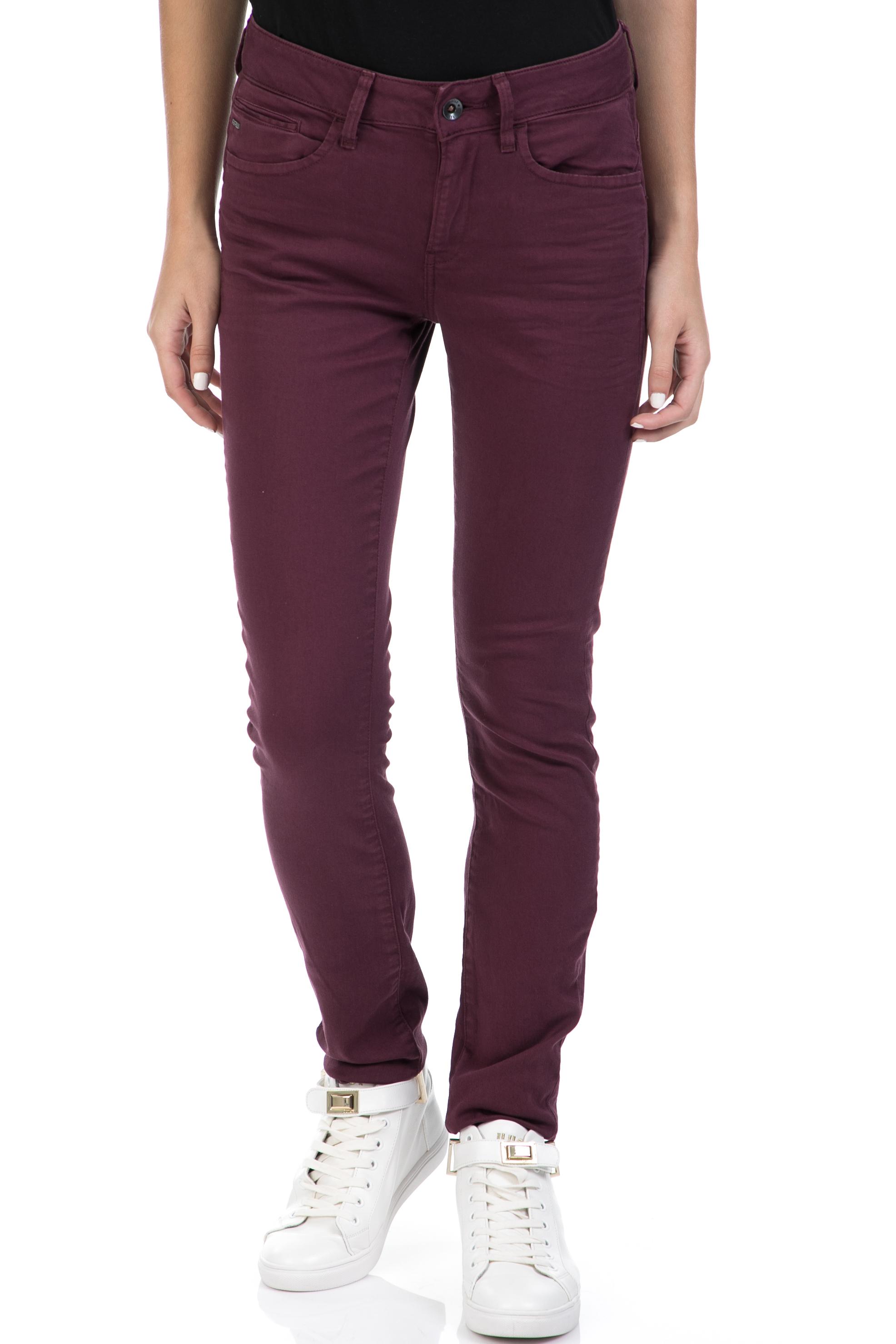 G-STAR RAW - Γυναικείο παντελόνι Midge Zip Mid Skinny G-Star μπορντό γυναικεία ρούχα παντελόνια skinny