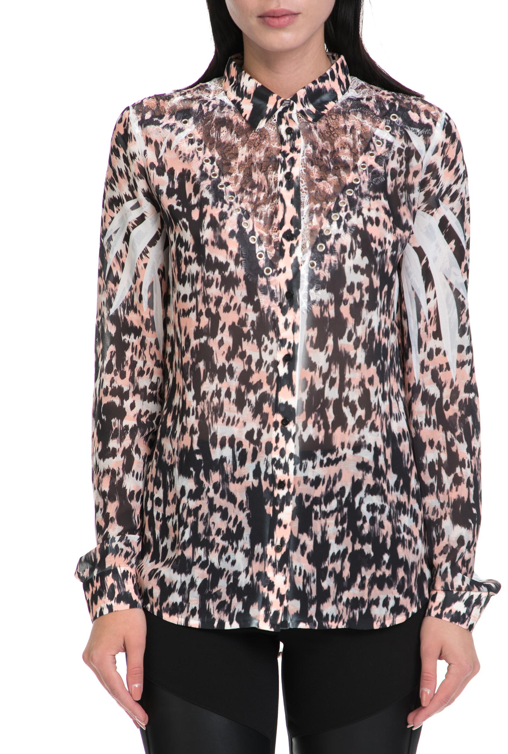32a3afefe96b GUESS - Γυναικείο πουκάμισο CLOUIS μαύρο-ροζ