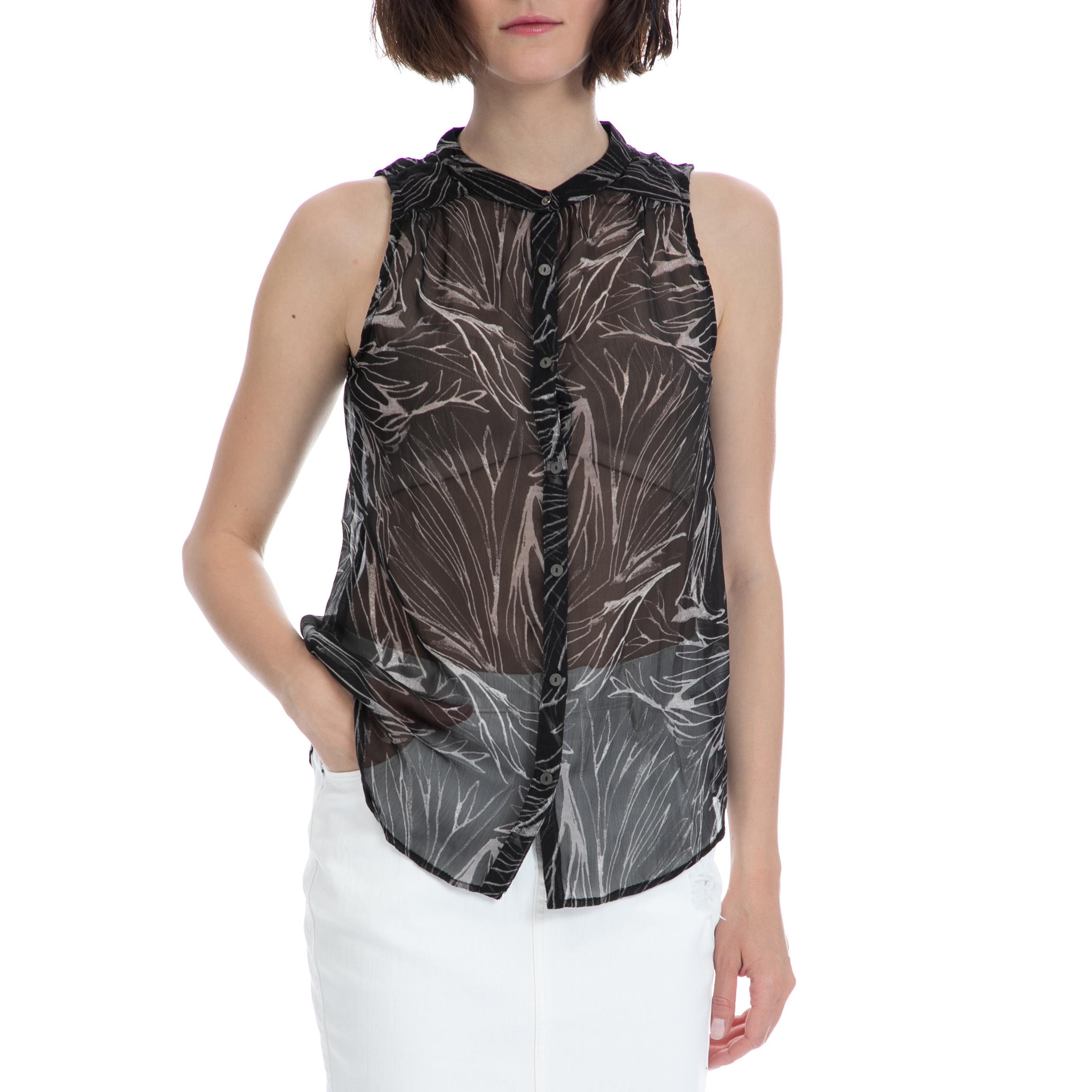 GARCIA JEANS - Γυναικείο πουκάμισο Garcia Jeans μαύρο γυναικεία ρούχα πουκάμισα κοντομάνικα αμάνικα