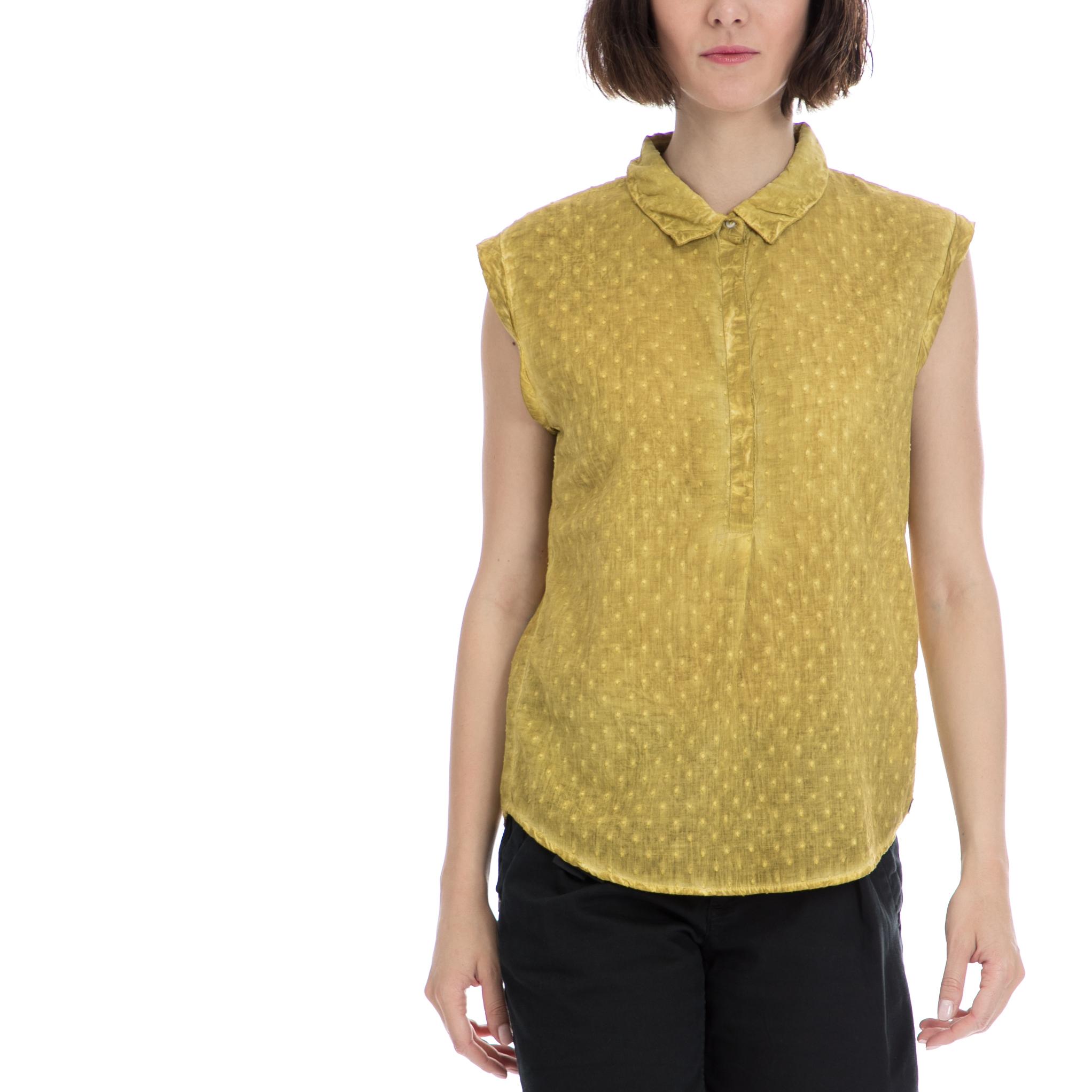 GARCIA JEANS - Γυναικείο πουκάμισο Garcia Jeans κίτρινο γυναικεία ρούχα πουκάμισα κοντομάνικα αμάνικα