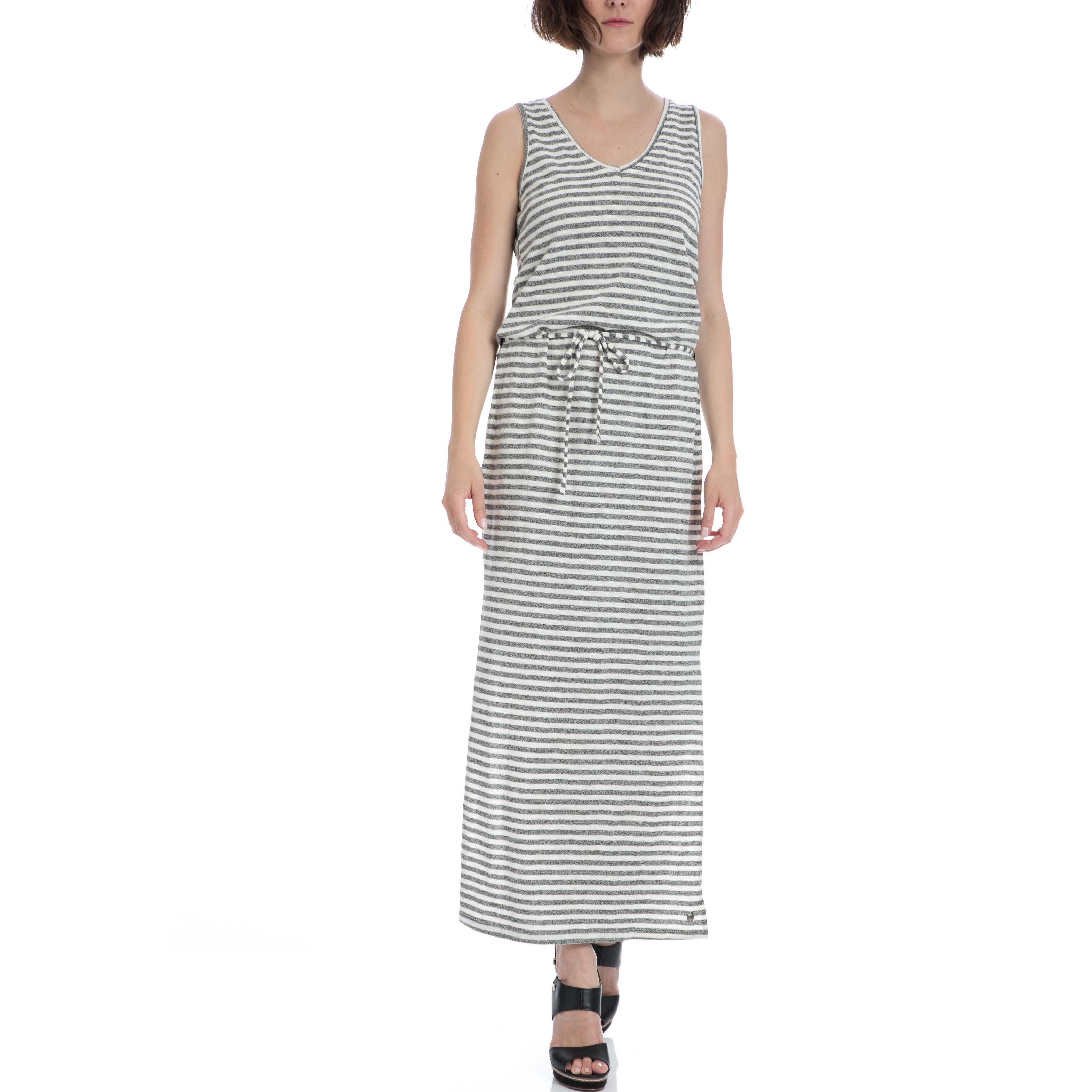 GARCIA JEANS - Γυναικείο φόρεμα Garcia Jeans γκρι-λευκό γυναικεία ρούχα φορέματα μάξι
