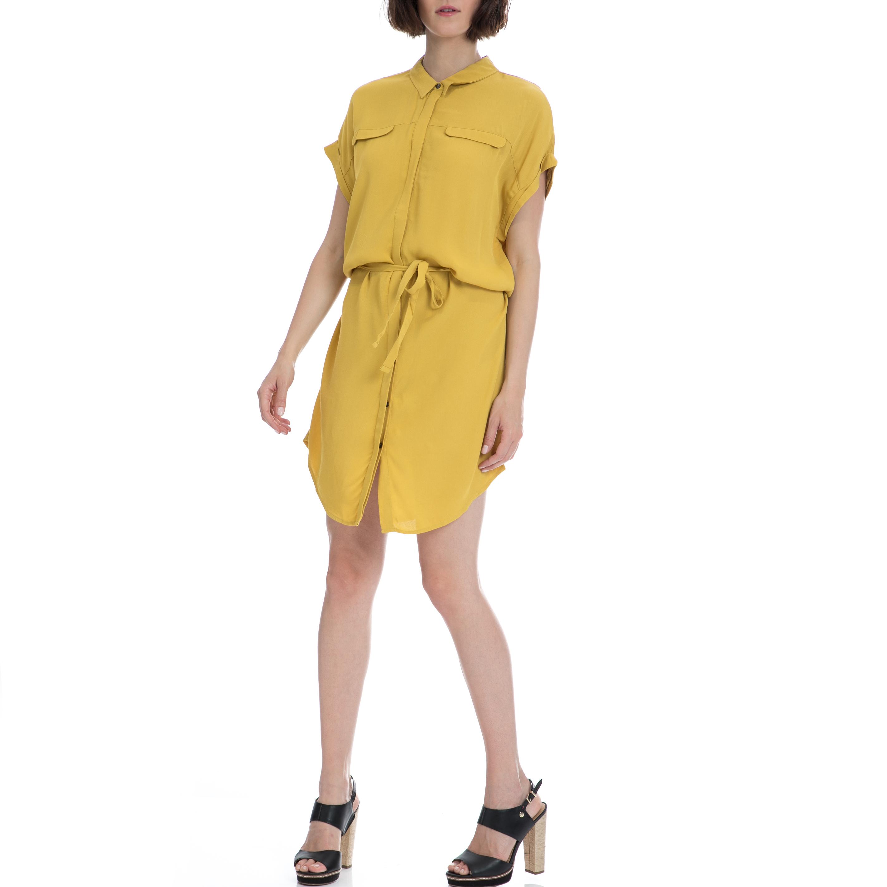 GARCIA JEANS - Γυναικείο φόρεμα Garcia Jeans κίτρινο γυναικεία ρούχα φορέματα μίνι