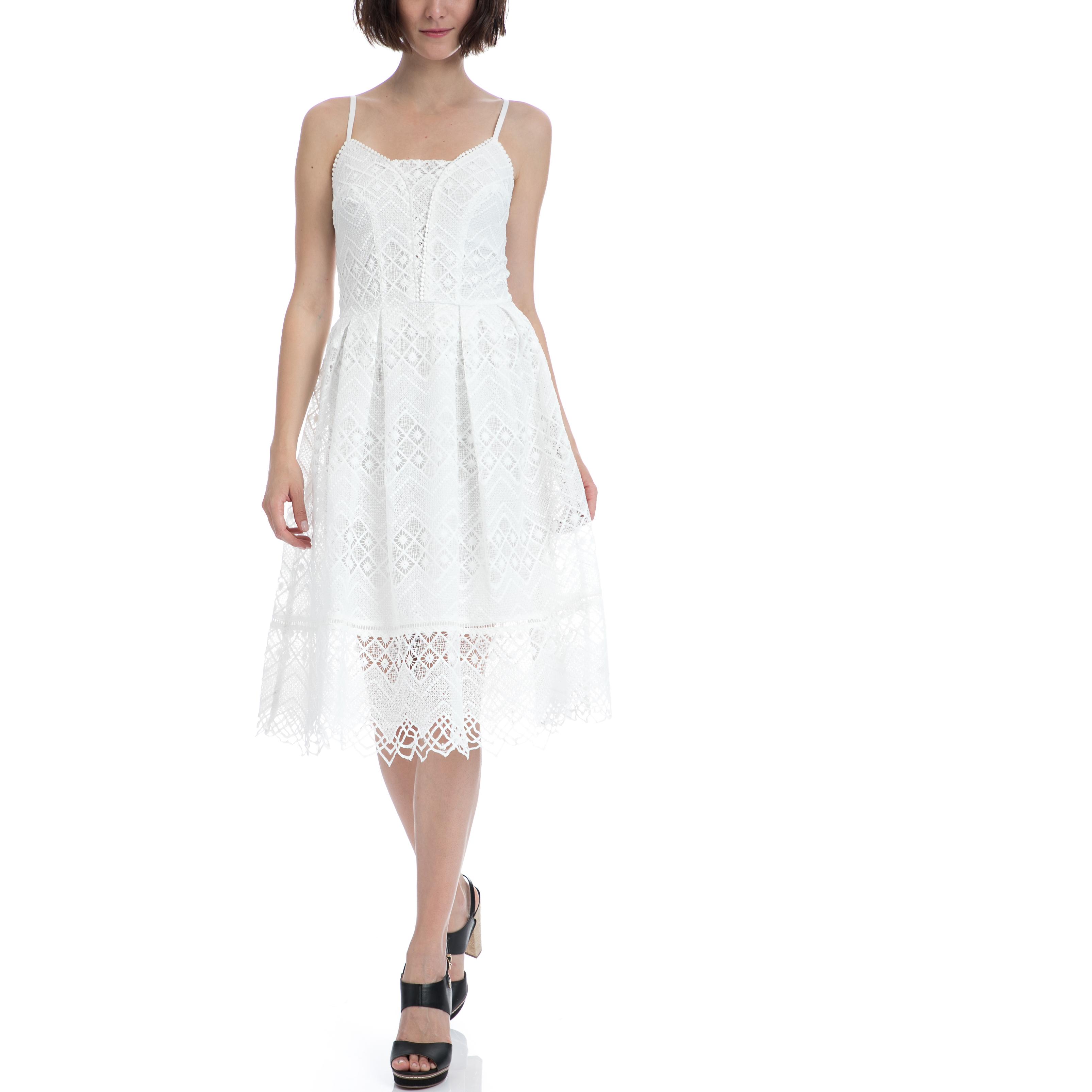 GARCIA JEANS - Γυναικείο φόρεμα Garcia Jeans λευκό γυναικεία ρούχα φορέματα μέχρι το γόνατο