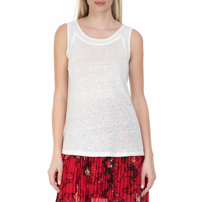 GARCIA JEANS - Γυναικεία αμάνικη μπλούζα GARCIA JEANS λευκή γυναικεία ρούχα μπλούζες αμάνικες