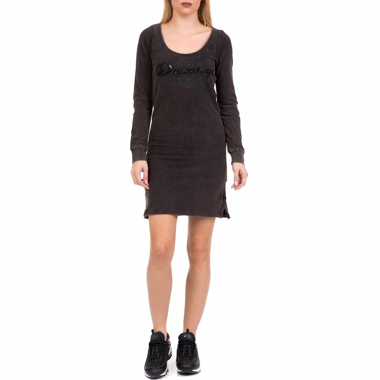 DEVERGO JEANS - Γυναικείο μίνι φόρεμα DEVERGO JEANS ανθρακί γυναικεία ρούχα φορέματα μίνι