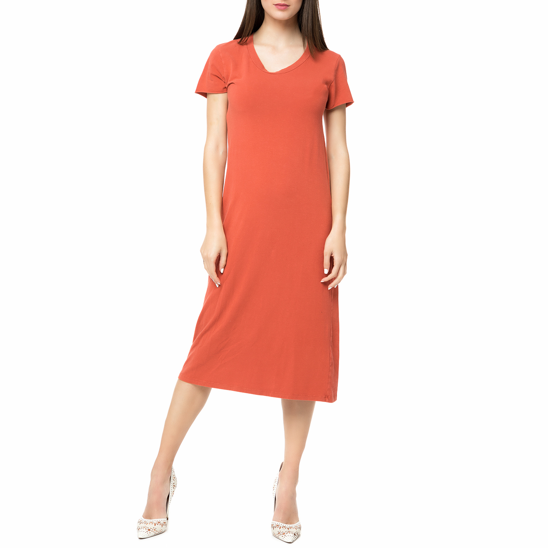 AMERICAN VINTAGE - Γυναικείο midi φόρεμα ENA36TVE17 AMERICAN VINTAGE κεραμιδί γυναικεία ρούχα φορέματα μέχρι το γόνατο