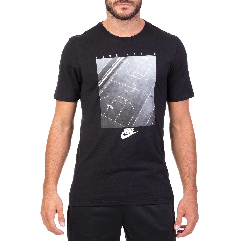 NIKE - Ανδρική κοντομάνικη μπλούζα NIKE μαύρη με στάμπα ανδρικά ρούχα αθλητικά t shirt