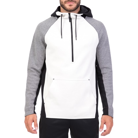 NIKE-Ανδρική φούτερ μπλούζα με κουκούλα NIKE TCH FLC εκρού-γκρι
