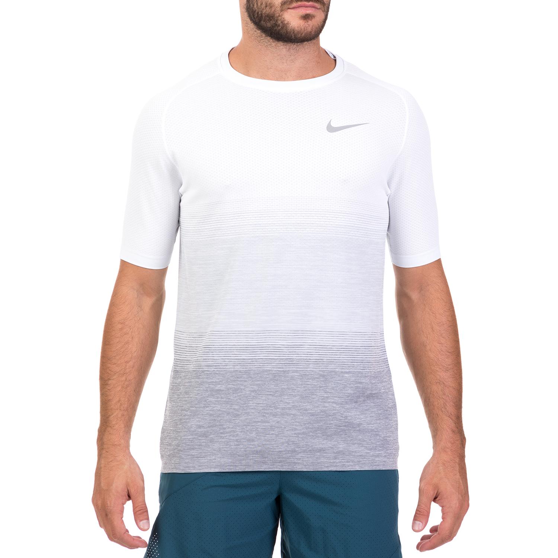 NIKE - Ανδρική αθλητική κοντομάνικη μπλούζα NIKE DF KNIT λευκή-γκρι ανδρικά ρούχα αθλητικά t shirt