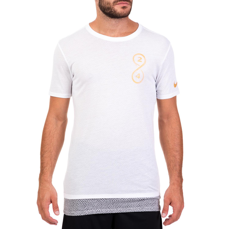 NIKE - Ανδρική κοντομάνικη μπλούζα μπάσκετ KOBE NIKE DRY λευκή ανδρικά ρούχα αθλητικά t shirt