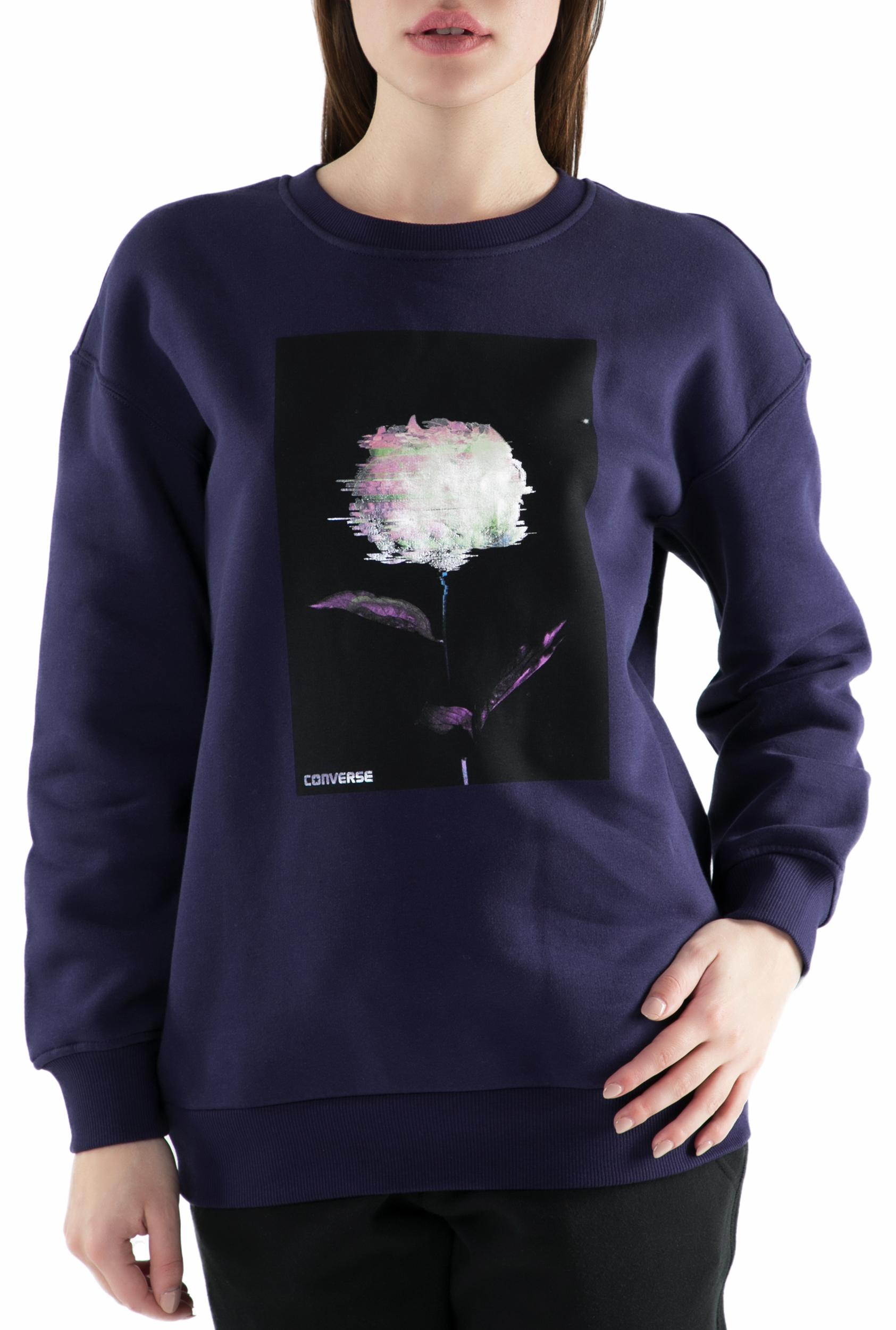 3ff2e409e4f3 CONVERSE – Γυναικεία φούτερ μπλούζα Converse Shine Pack Graphic Oversized  μοβ