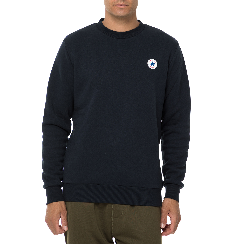CONVERSE - Ανδρική φούτερ μπλούζα CONVERSE μπλε σκούρη ανδρικά ρούχα φούτερ μπλούζες