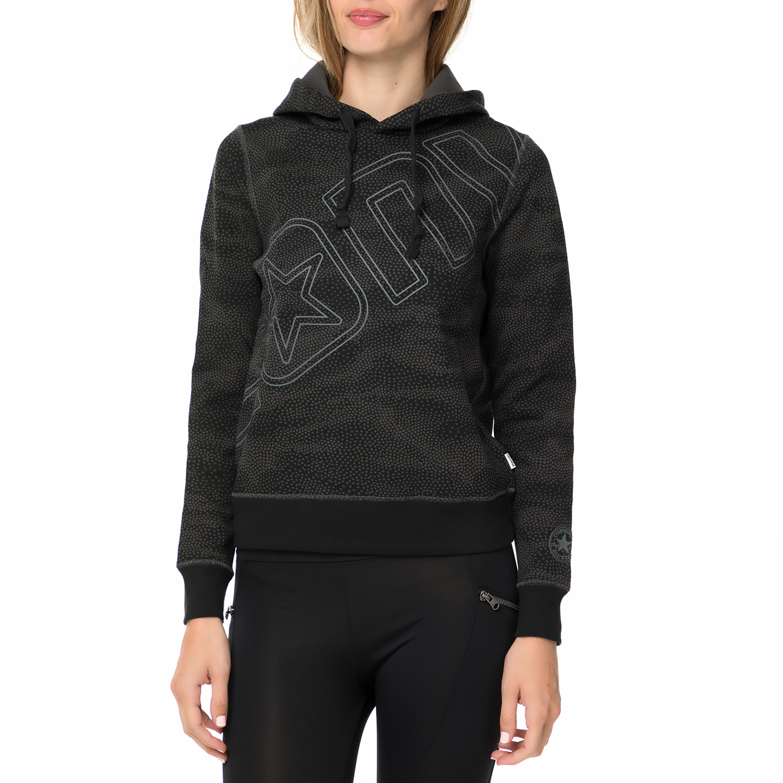 75647f95014c CONVERSE – Γυναικεία φούτερ μπλούζα με κουκούλα CONVERSE μαύρη με print
