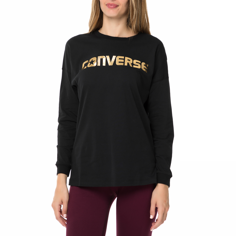 CONVERSE - Γυναικεία φούτερ μπλούζα CONVERSE μαύρη με στάμπα ... a4ce8a891e4