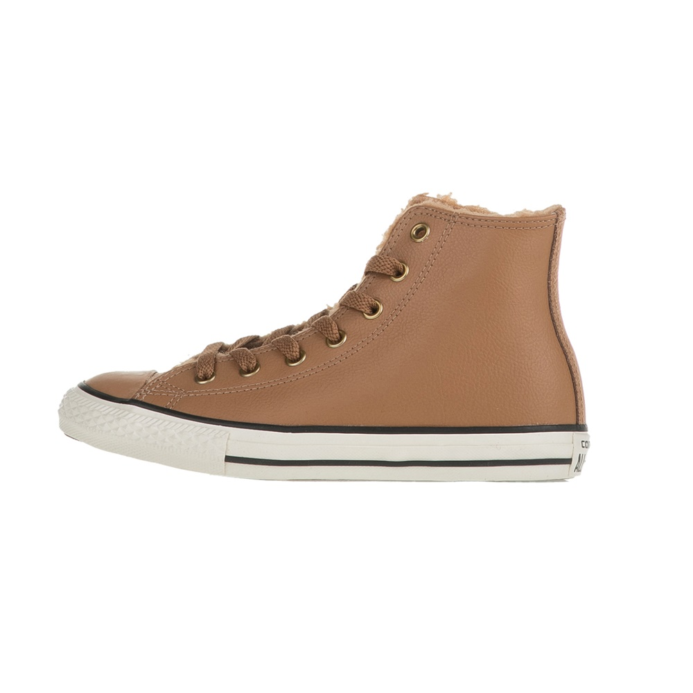 CONVERSE – Παιδικά δερμάτινα μποτάκια Chuck Taylor All Star Hi καφέ