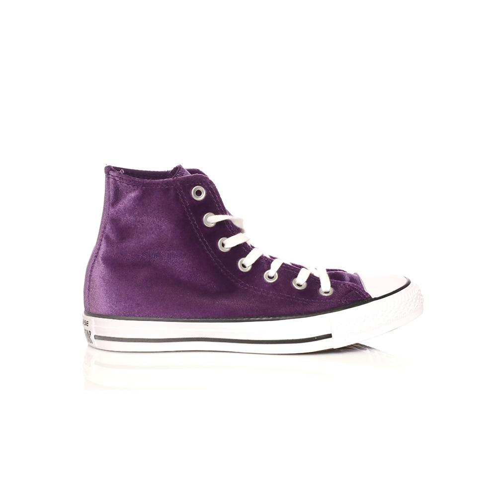 CONVERSE – Γυναικεία βελουτέ μποτάκια Converse Chuck Taylor All Star HI μοβ