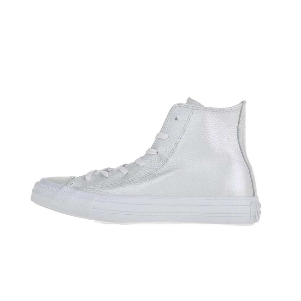 CONVERSE – Γυναικεία δερμάτινα μποτάκια Chuck Taylor All Star Hi λευκά