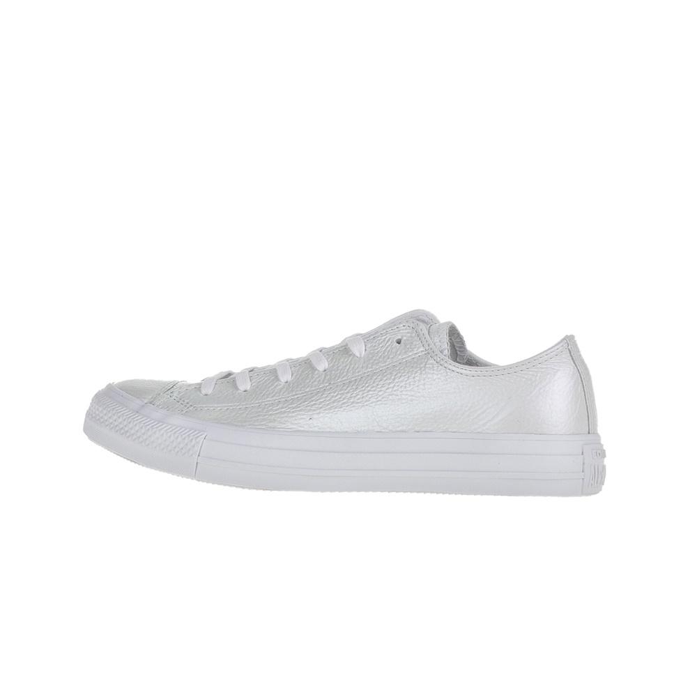 CONVERSE - Γυναικεία δερμάινα sneakers Chuck Taylor All Star Ox λευκά 61724b68871