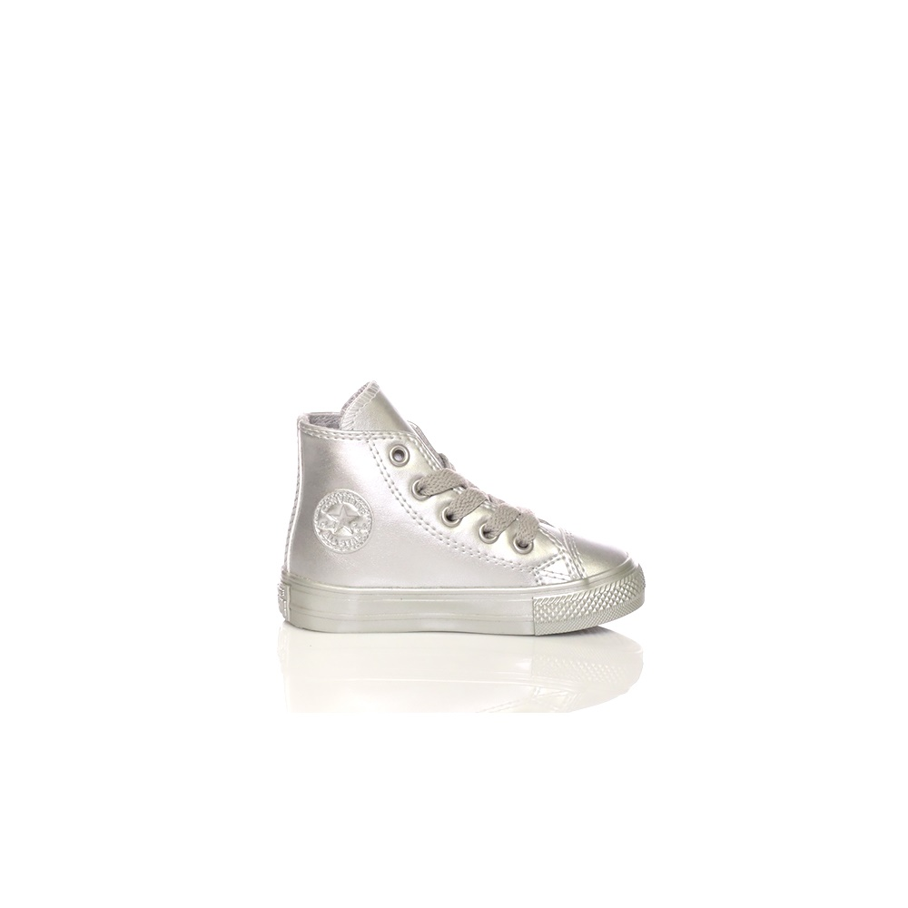 c5bb8879143 Factoryoutlet CONVERSE – Βρεφικά μποτάκια CONVERSE Chuck Taylor All Star Hi  ασημί