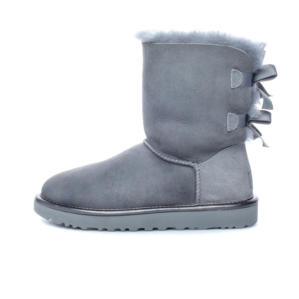 UGG - Γυναικεία μποτάκια BAILEY BOW II METALLIC γκρι γυναικεία παπούτσια μπότες μποτάκια μποτάκια