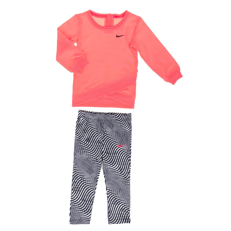 NIKE KIDS - Παιδικό κοριτσίστικο σετ κολάν και μπλούζα NIKE KIDS μαύρο-πορτοκαλί