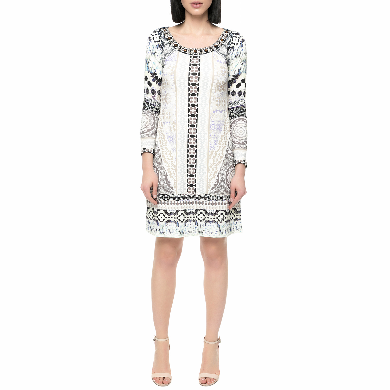 HALE BOB - Γυναικείο μίνι φόρεμα HALE BOB λευκό με print γυναικεία ρούχα φορέματα μίνι