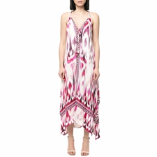 HALE BOB-Γυναικείο μάξι φόρεμα HALE BOB ροζ - λευκό