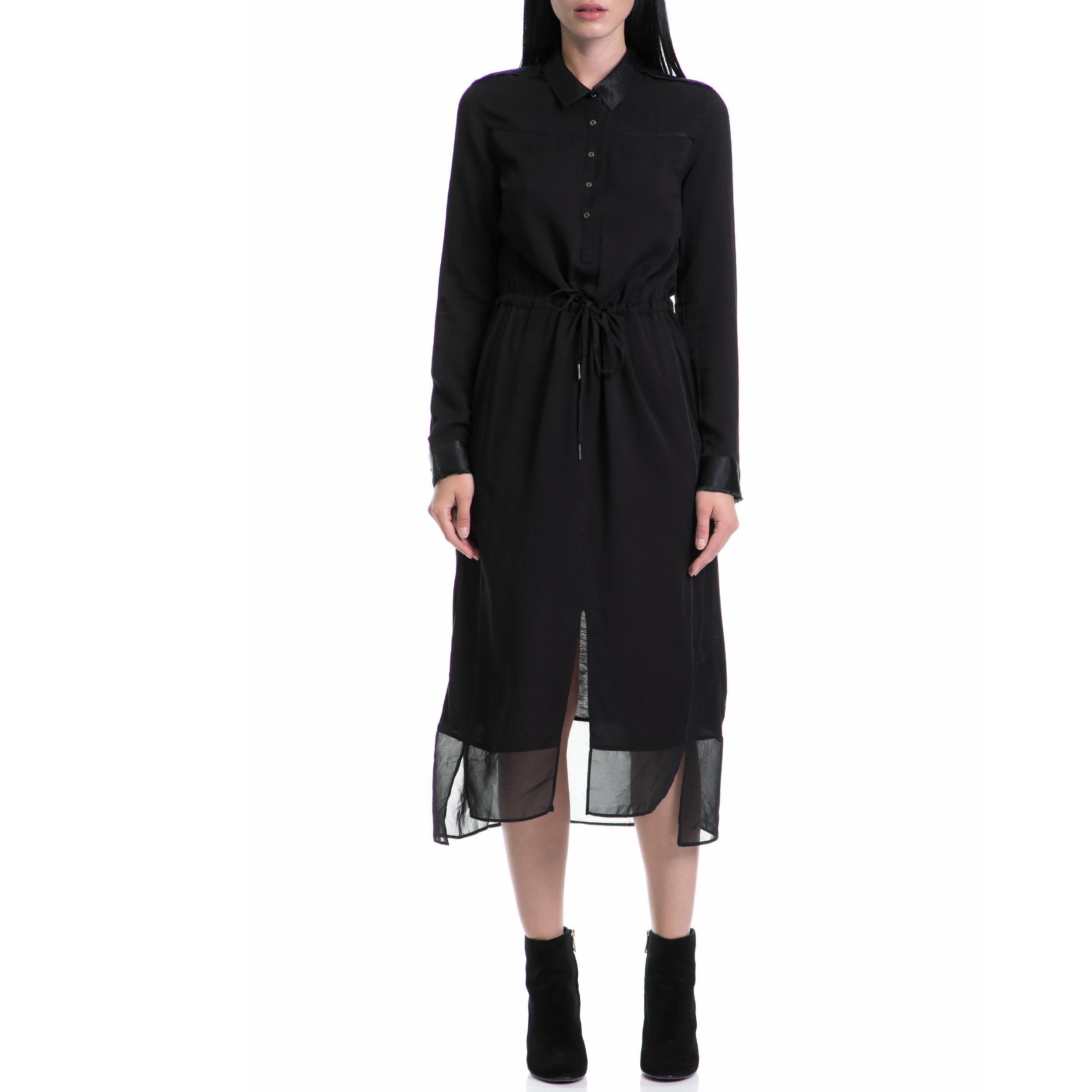 CALVIN KLEIN JEANS - Γυναικείο φόρεμα DULCIE SILK μαύρο γυναικεία ρούχα φορέματα μέχρι το γόνατο