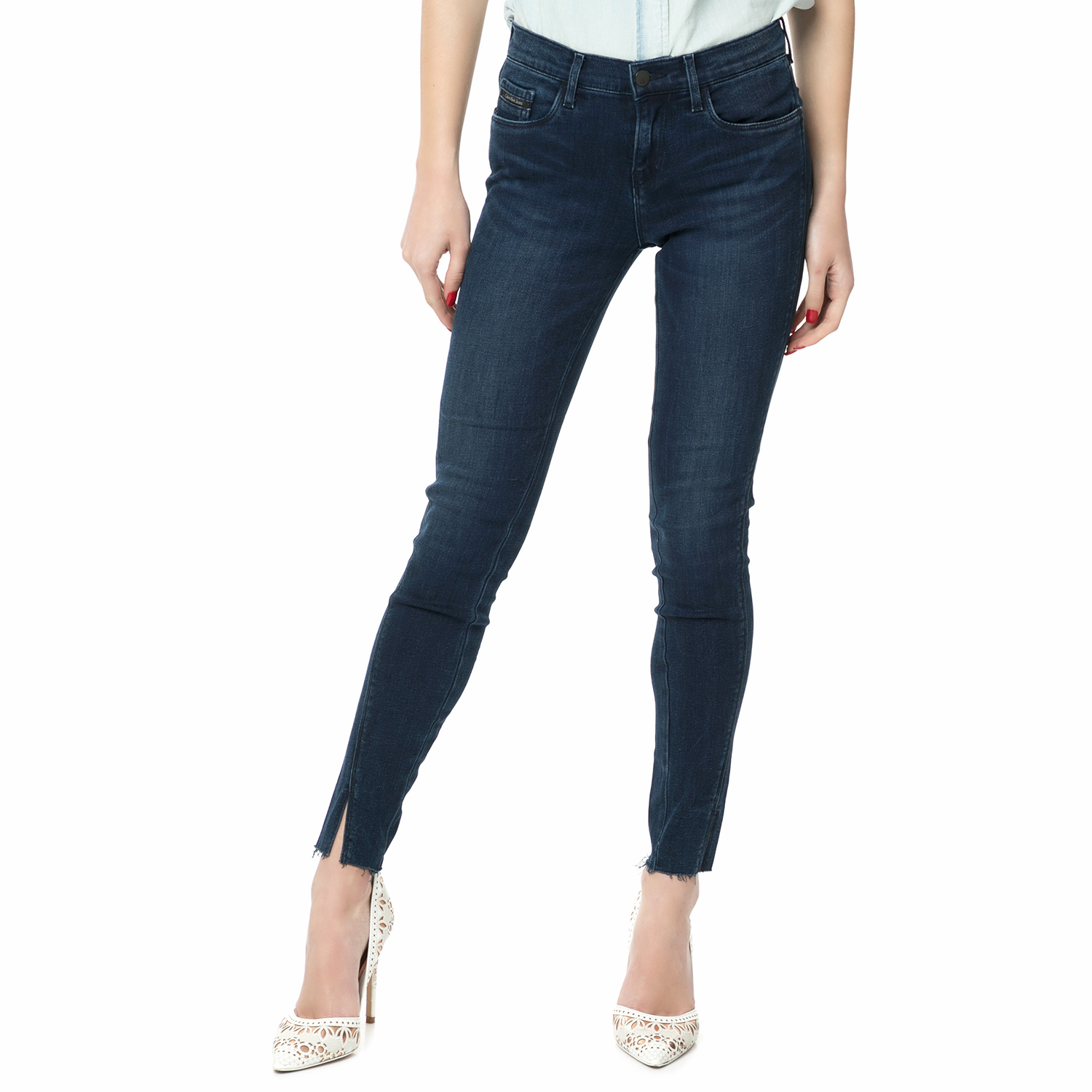 CALVIN KLEIN JEANS - Γυναικείο τζιν παντελόνι mid rise skinny Twisted ankle-Extr γυναικεία ρούχα παντελόνια skinny