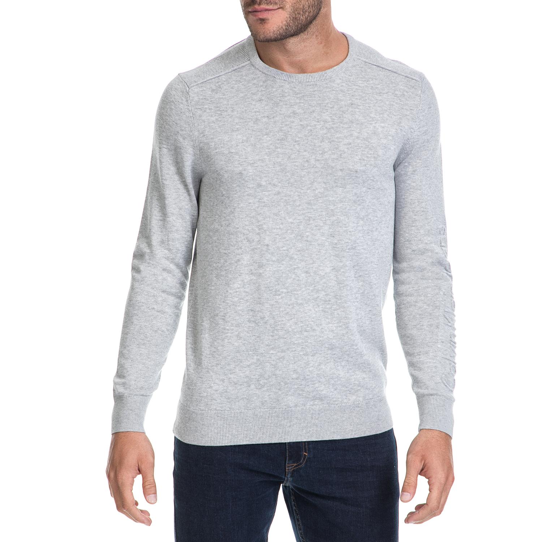 CALVIN KLEIN JEANS - Ανδρική μπλούζα SALVON CN γκρι ανδρικά ρούχα πλεκτά ζακέτες μπλούζες