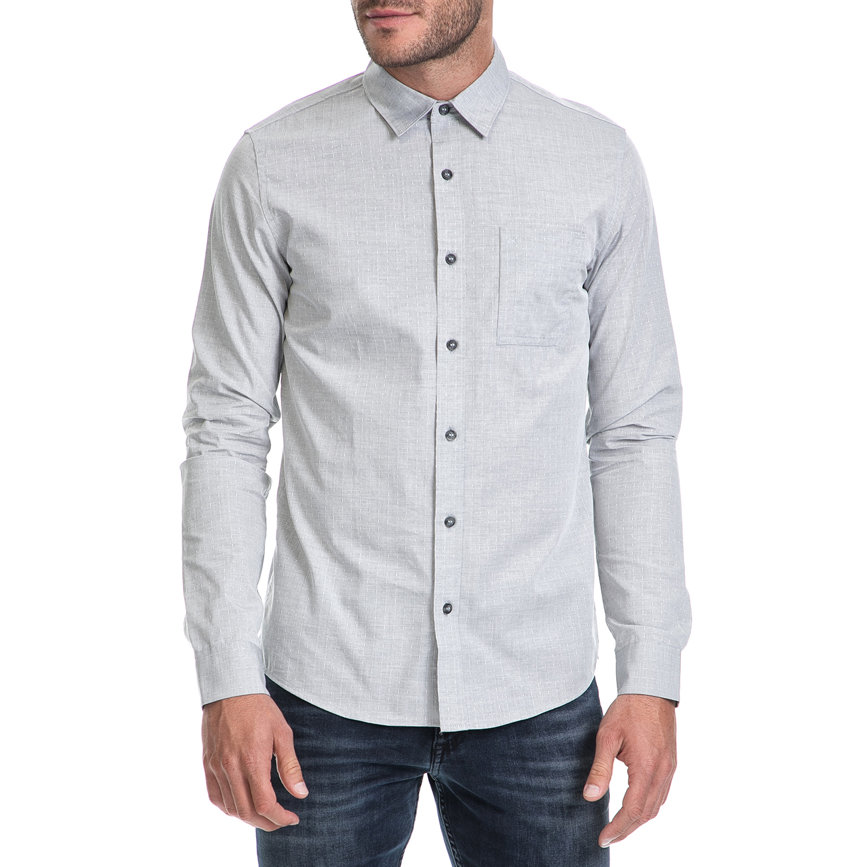 CALVIN KLEIN JEANS - Ανδρικό πουκάμισο WILBENS 2 HEATHER DOBBY γκρι ανδρικά ρούχα πουκάμισα μακρυμάνικα
