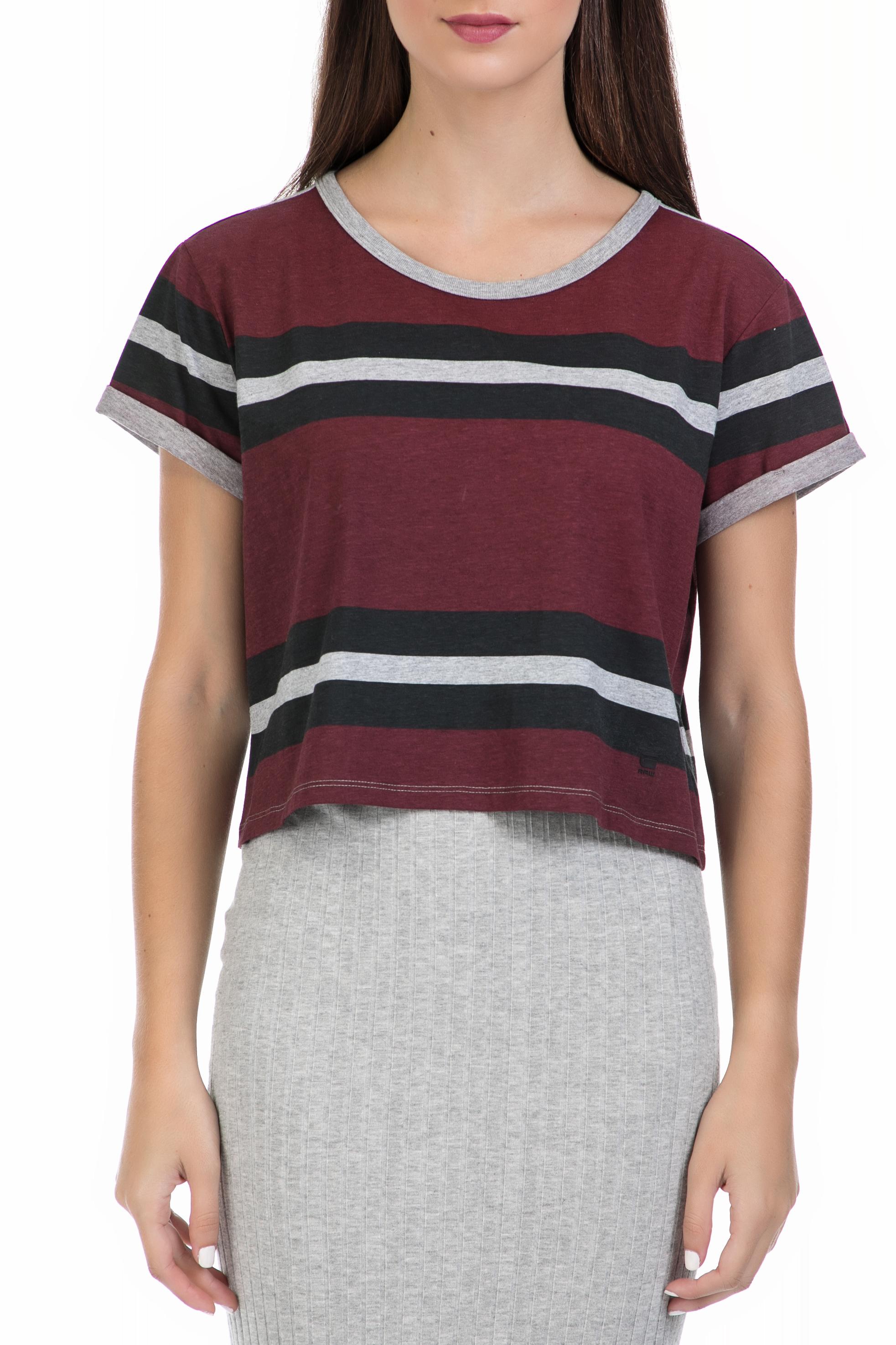 G-STAR RAW - Γυναικεία μπλούζα Eva straight cropped G-Star μπορντό γυναικεία ρούχα μπλούζες t shirt