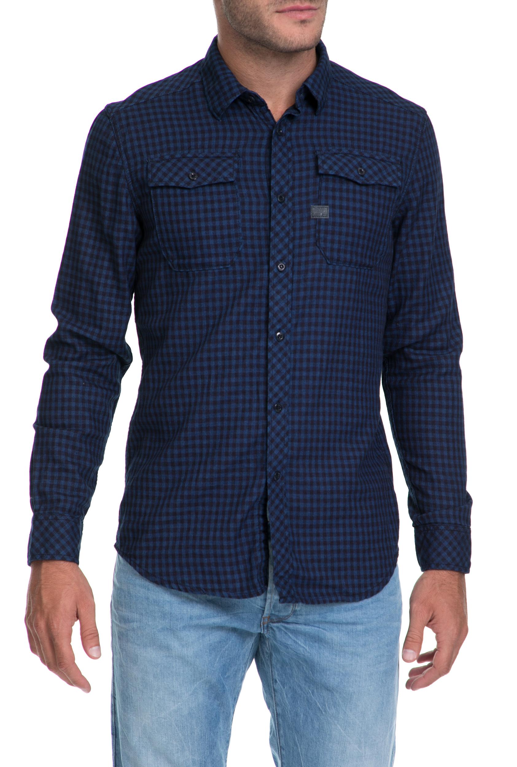 G-STAR - Ανδρικό πουκάμισο Landoh G-STAR RAW μπλε ανδρικά ρούχα πουκάμισα μακρυμάνικα