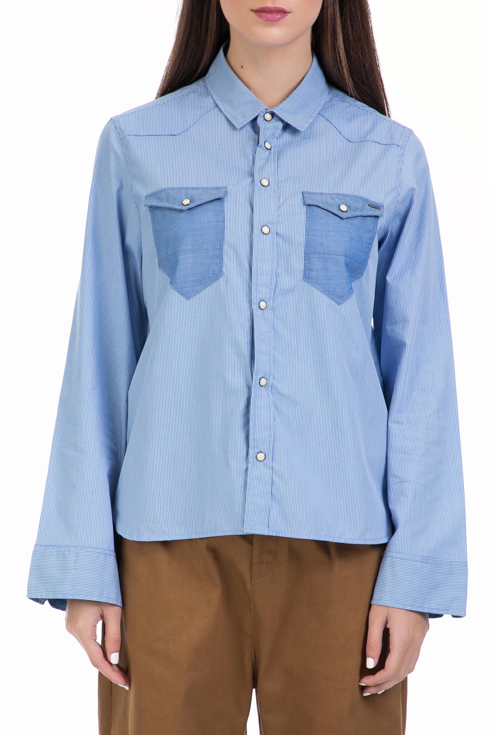 G-STAR RAW - Γυναικείο πουκάμισο Tacoma wide slv bf croppe μπλε γυναικεία ρούχα πουκάμισα μακρυμάνικα