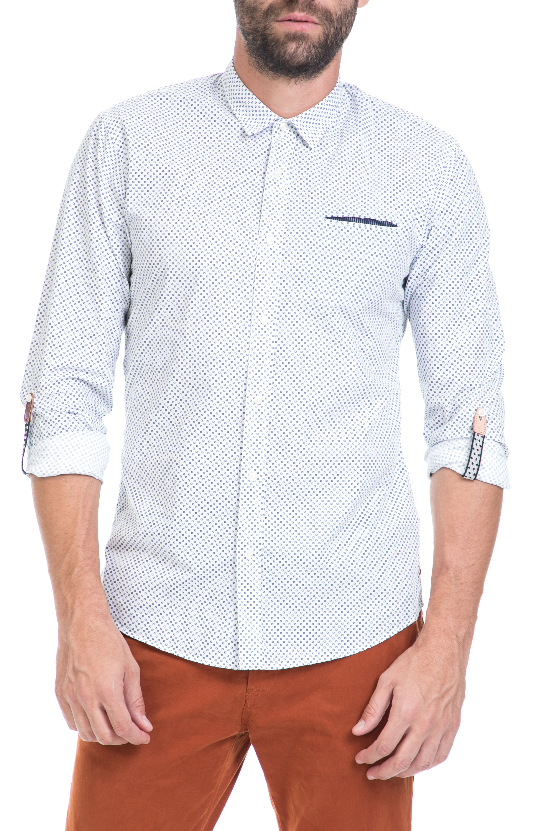 SCOTCH & SODA - Ανδρικό πουκάμισο SCOTCH & SODA λευκό- μπλε ανδρικά ρούχα πουκάμισα μακρυμάνικα