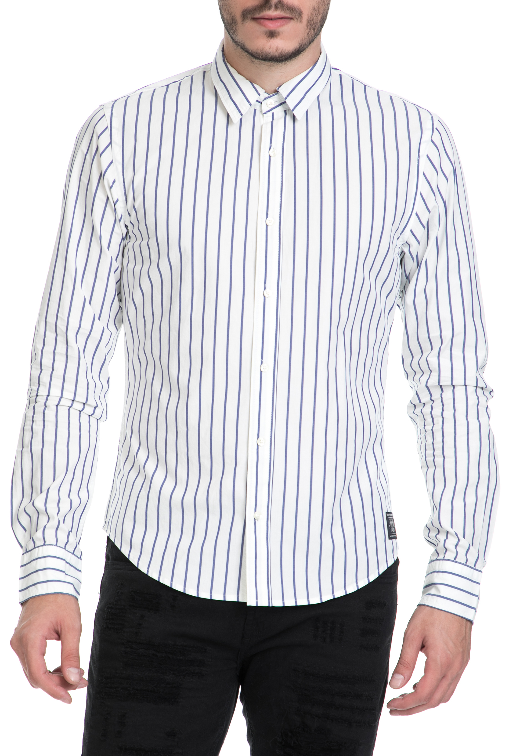 SCOTCH & SODA - Ανδρικό πουκάμισο SCOTCH & SODA λευκό-μπλε ανδρικά ρούχα πουκάμισα μακρυμάνικα