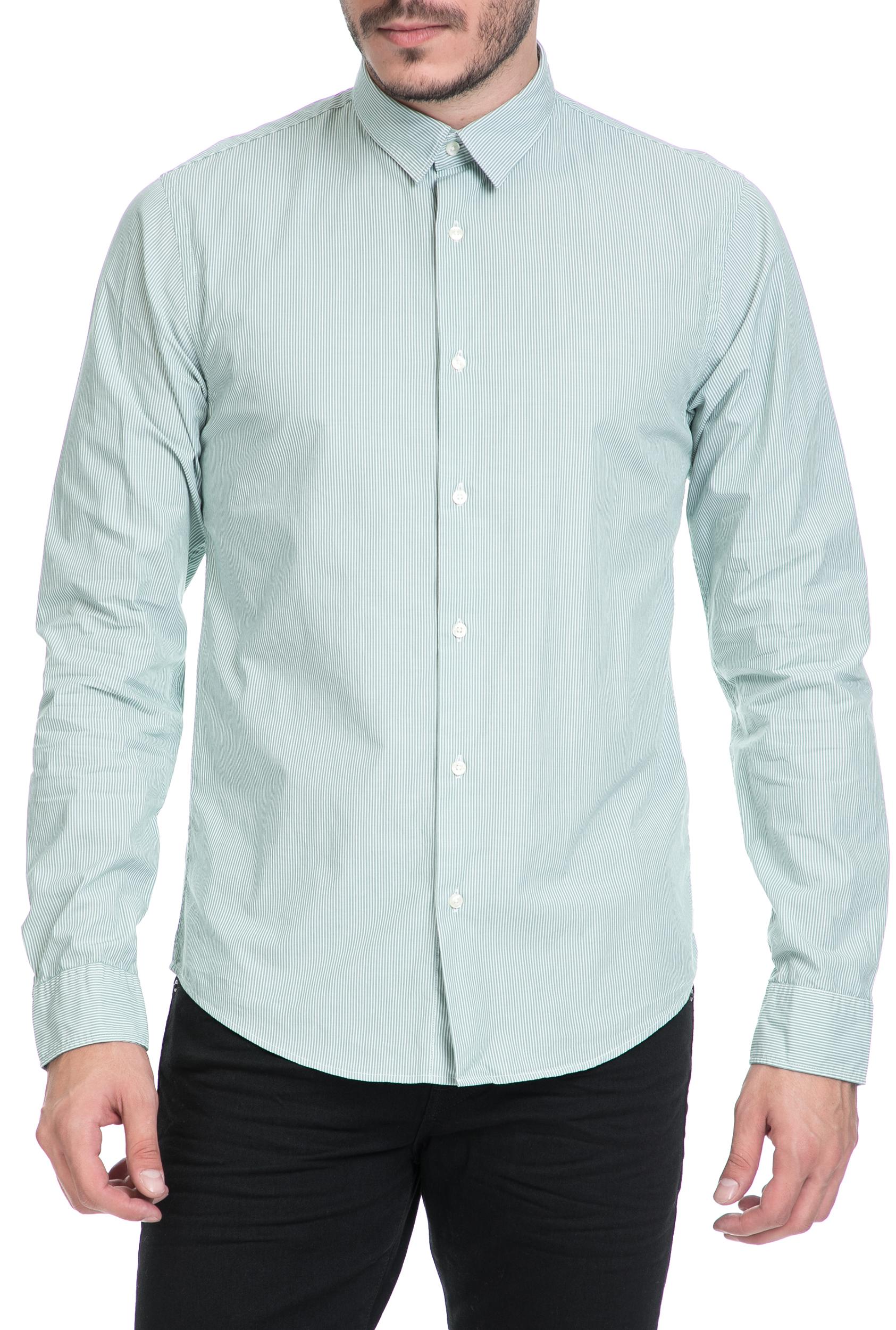 SCOTCH & SODA - Ανδρικό πουκάμισο SCOTCH & SODA λευκό-πράσινο ανδρικά ρούχα πουκάμισα μακρυμάνικα