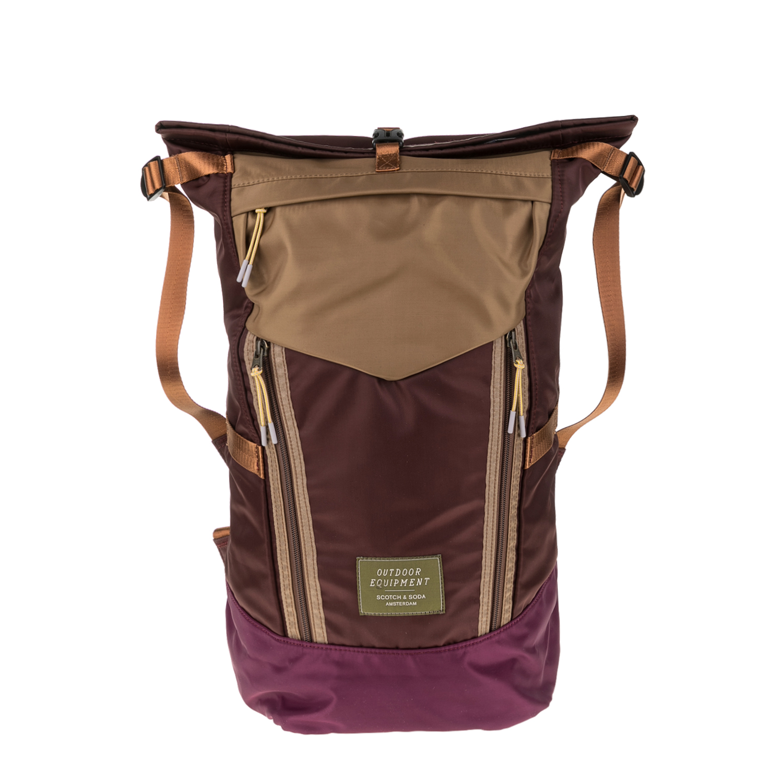 SCOTCH & SODA - Ανδρικό backpack SCOTCH & SODA καφέ-μοβ ανδρικά αξεσουάρ τσάντες σακίδια πλάτης